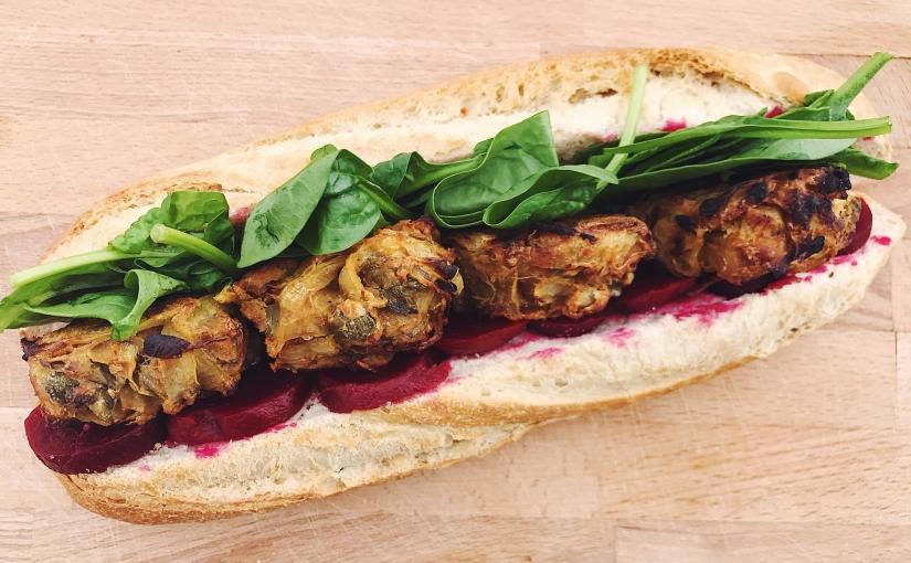 The amazing vegan onion bhajisandwich